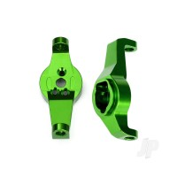 Caster blocks, 6061-T6 aluminium (green-anodized), left and right