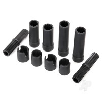 Half shafts, center (internal splined, front (2pcs) & internal splined, rear (2pcs) / external splined (2pcs) / pin retainer (4pcs)) (plastic parts only)
