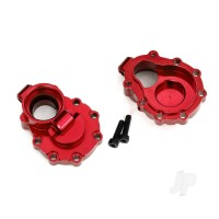 Portal housings, inner (Rear), 6061-T6 aluminium (Red-anodized) (2 pcs) / 2.5x10 CS (2 pcs)