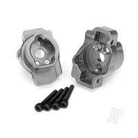 Portal drive axle mount, rear, 6061-T6 aluminium (charcoal grey-anodized) (left and right) / 2.5x16 CS (4pcs)