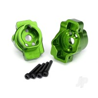 Portal drive axle mount, Rear, 6061-T6 aluminium (Green-anodized) (left and right) / 2.5x16 CS (4 pcs)