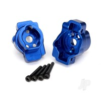 Portal drive axle mount, Rear, 6061-T6 aluminium (Blue-anodized) (left and right) / 2.5x16 CS (4 pcs)