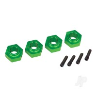 Wheel hubs, 12mm hex, 6061-T6 aluminium (green-anodized) (4pcs) / screw pin (4pcs)