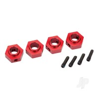 Wheel hubs, 12mm hex, 6061-T6 aluminium (red-anodized) (4pcs) / screw pin (4pcs)