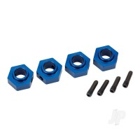 Wheel hubs, 12mm hex, 6061-T6 aluminium (blue-anodized) (4pcs) / screw pin (4pcs)
