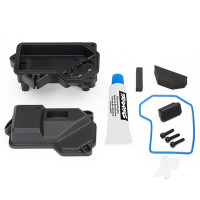 Box, receiver (sealed) (steering servo mount) / receiver cover / access plug / foam pads / silicone grease / 2.5x10 CS (3pcs)