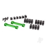 Mounts, suspension arms, aluminium (green-anodized) (front & rear) / hinge pin retainers (12pcs) / inserts (6pcs)