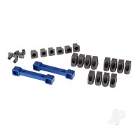 Mounts, suspension arms, aluminium (blue-anodized) (front & rear) / hinge pin retainers (12pcs) / inserts (6pcs)