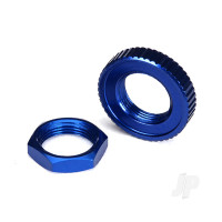 Servo saver nuts, aluminium, blue-anodized (hex (1pc), serrated (1pc))
