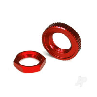 Servo saver nuts, aluminium, red-anodized (hex (1pc), serrated (1pc))