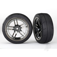 Tires and wheels, assembled, glued (split-spoke black chrome wheels, 1.9in Response tires) (front) (2pcs)