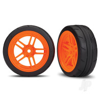 Tires and wheels, assembled, glued (split-spoke orange wheels, 1.9in Response tires) (front) (2pcs) (VXL rated)