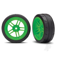 Tires and wheels, assembled, glued (split-spoke green wheels, 1.9in Response tires) (front) (2pcs) (VXL rated)