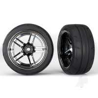 Tires and wheels, assembled, glued (split-spoke black chrome wheels, 1.9in Response tires) (extra wide, rear) (2pcs)