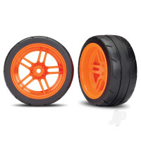 Tires and wheels, assembled, glued (split-spoke orange wheels, 1.9in Response tires) (extra wide, rear) (2pcs) (VXL rated)