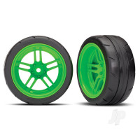 Tires and wheels, assembled, glued (split-spoke green wheels, 1.9in Response tires) (extra wide, rear) (2pcs) (VXL rated)