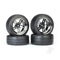 Tires & wheels, assembled, glued (split-spoke black chrome wheels, 1.9in Response tires, foam inserts) (front (2pcs), rear (extra wide) (2pcs)) (VXL rated)