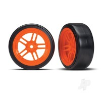Tires and wheels, assembled, glued (split-spoke orange wheels, 1.9in Drift tires) (front)