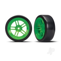 Tires and wheels, assembled, glued (split-spoke green wheels, 1.9in Drift tires) (front)