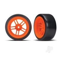 Tires and wheels, assembled, glued (split-spoke orange wheels, 1.9in Drift tires) (rear)