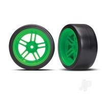 Tires and wheels, assembled, glued (split-spoke green wheels, 1.9in Drift tires) (rear)