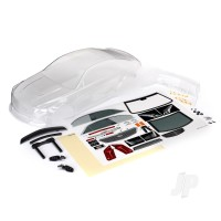 Body, Cadillac CTS-V (clear, requires painting) / decal sheet (includes side mirrors, spoiler, & mounting hardware)