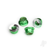 Nuts, 5mm flanged nylon locking (Aluminium, green-anodized, serrated) (4pcs)