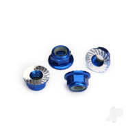 Nuts, 5mm flanged nylon locking (Aluminium, blue-anodized, serrated) (4pcs)