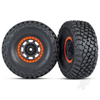 Tyres & Wheels, assembled, glued (Desert Racer wheels, black with orange beadlock, BFGoodrich Baja KR3 Tyres) (2pcs)
