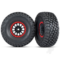 Tires and wheels, assembled, glued (Method Race Wheels, black with red beadlock, BFGoodrich Baja KR3 tires) (2pcs)