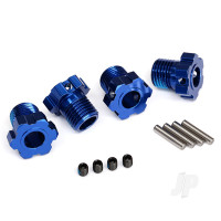 Wheel hubs, splined, 17mm (blue-anodized) (4pcs) / 4x5 GS (4pcs) / 3x14mm pin (4pcs)