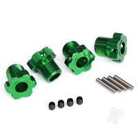 Wheel hubs, splined, 17mm (green-anodized) (4pcs) / 4x5 GS (4pcs) / 3x14mm pin (4pcs)