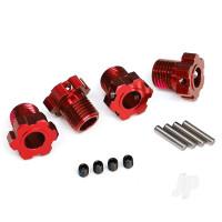 Wheel hubs, splined, 17mm (red-anodized) (4pcs) / 4x5 GS (4pcs) / 3x14mm pin (4pcs)