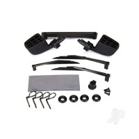 Mirrors, side, black (left & right) / o-rings (4 pcs) / windshield wipers, left, right, & Rear / wiper retainers (2 pcs) / Body clips (4 pcs) / 1.6x5 BCS (self-tapping) (3 pcs)