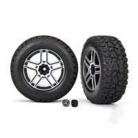 Tires and wheels, assembled, glued (2.6in black, satin chrome-plated Mercedes-Benz G 500 4x4_ wheels, 2.6in tires) (2pcs) / center caps (2pcs) (requires #8255A extended stub axle)