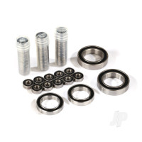 Ball bearing set, TRX-4 Traxx, black rubber sealed, stainless (contains 5x11x4 (40), 20x32x7 (2pcs), & 17x26x5 (2pcs) bearings / 5x11x.5mm PTFE-coated washers (40)) (for 1 pair of front or rear tracks)