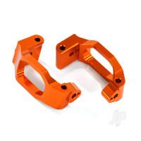 Caster blocks (c-hubs), 6061-T6 aluminium (orange-anodized), left & right / 4x22mm pin (4pcs) / 3x6mm BCS (4pcs) / retainers (4pcs)