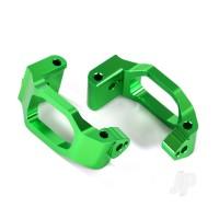 Caster blocks (c-hubs), 6061-T6 aluminium (green-anodized), left & right / 4x22mm pin (4pcs) / 3x6mm BCS (4pcs) / retainers (4pcs)
