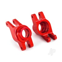 Carriers, stub axle (red-anodized 6061-T6 aluminium) (rear) (2pcs)