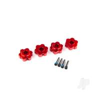 Wheel hubs, hex, aluminium (red-anodized) (4pcs) / 4x13mm screw pins (4pcs)