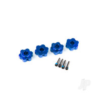 Wheel hubs, hex, aluminium (blue-anodized) (4pcs) / 4x13mm screw pins (4pcs)