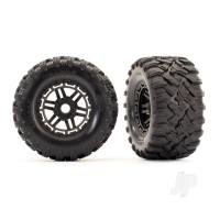 Tires & wheels, assembled, glued (black wheels, Maxx All-Terrain tires, foam inserts) (2pcs) (17mm splined) (TSM rated)