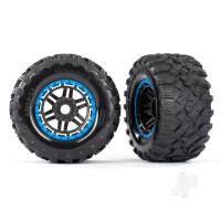 Tyres & Wheels, assembled, glued (black, blue beadlock style wheels, Maxx MT Tyres, foam inserts) (2pcs) (17mm splined) (TSM rated)