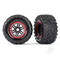 Tyres & Wheels, assembled, glued (black, red beadlock style wheels, Maxx MT Tyres, foam inserts) (2pcs) (17mm splined) (TSM rated)