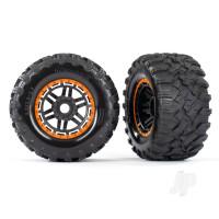 Tyres & Wheels, assembled, glued (black, orange beadlock style wheels, Maxx MT Tyres, foam inserts) (2pcs) (17mm splined) (TSM rated)