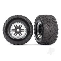 Tyres & Wheels, assembled, glued (black, satin chrome beadlock style wheels, Maxx MT Tyres, foam inserts) (2pcs) (17mm splined) (TSM rated)