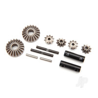 Gear set, differential (output gears (2pcs) / spider gears (4pcs) / spider gear shaft (2pcs) / output shaft (2pcs) / 2.5X13.8 pin (2pcs))