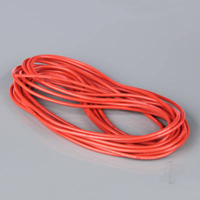 Silicone Wire, 14AWG, 25ft / 7.5m Red (on a roll)