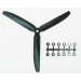 9x5 Slow Fly Propeller 3-Blade Black Opposite Rotation