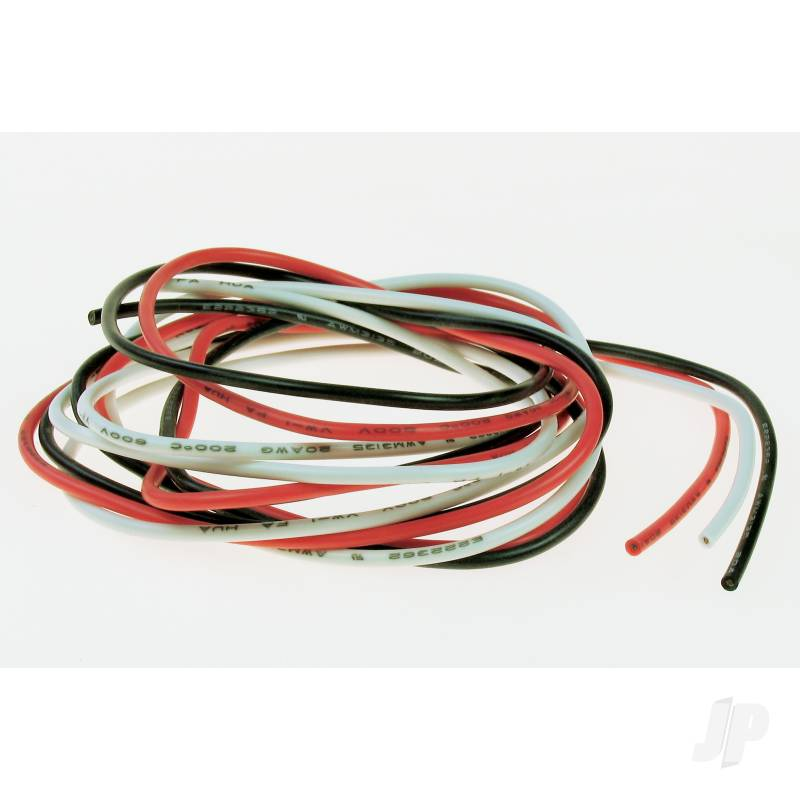 20SWG Silicone Wire (White/Black/Red) 1m